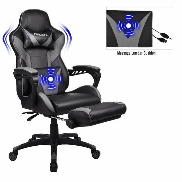 Gaming Racing Massage Office Chair Swivel Computer Seat Pu Leather With Footrest