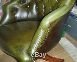 Genuine Antique Vintage Leather Chesterfield Executive Swivel Office Chair