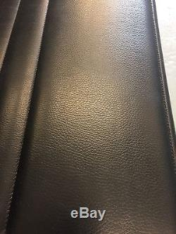 Genuine Charles Eames EA108 by ICF Black Leather Ribbed Office Chair