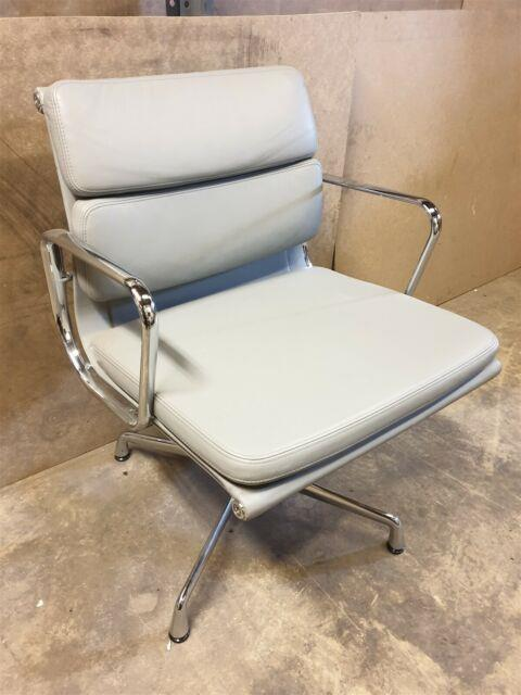 Genuine Charles Eames Vitra Grey Leather Soft Pad Office Chair Seat Chrome Frame