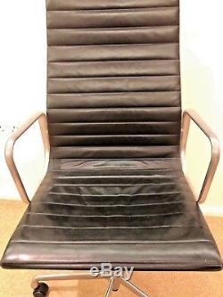 Genuine Eames EA119 High Back Chair Black Leather Home Office New £3500