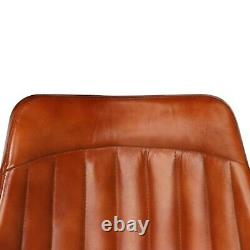 Genuine Leather Dining Chair Set Vintage Kitchen Breakfast Office Guest Seat x 2