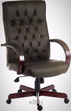 Genuine Leather Office Chair Button Tufted Backrest Heavy People Height Adjust