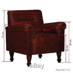 Genuine Leather Vintage Armchair Brown Chair Handcraft Lounge Living Room Office