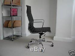 Genuine USED Vitra EA119 High backed Aluminium Group chair Ribbed Black leather