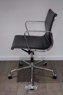 Genuine Vitra Charles Eames EA 117 Chair Black Leather & Polished Aluminium