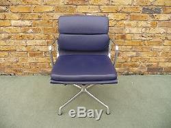 Genuine Vitra Charles Eames Ea208 Soft Pad Blue Leather Aluminium Chair