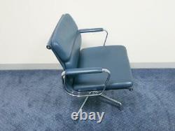 Genuine Vitra Charles and Ray Eames EA208 Blue Leather Executive Office Chair