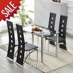 Glass & Chrome Dining Table and 4 Faux Leather Dining Chairs Kitchen Office Home