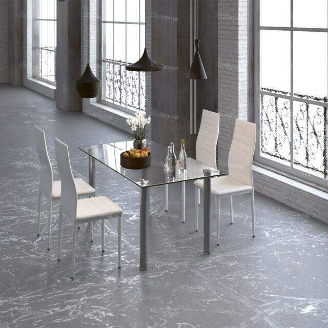 Glass Dining/meeting Table With4 Chairs Faux Leather Up 4-6 Kitchen/office Modern