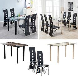 Glass Dining Table+4/6 High Back Black Faux Leather Dining Chairs Set Room Home