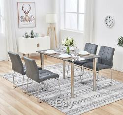 Glass Table and 4 chairs Dining Table Set Faux Leather Seat Chrome Legs Office