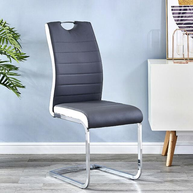 Gray/white Faux Leather Dining Chairs With Chrome Legs Set Of 2/4 Office Chairs