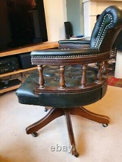 Green Leather Captains Banker's Chesterfield Swivel reclining Desk office Chair