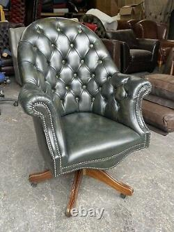 Green Leather Chesterfield Directors Captains office desk Chair WE DELIVER UK