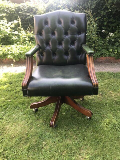 Green Leather Chesterfield Office Chair Free Delivery