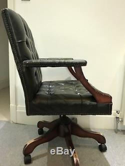 Green Leather Chesterfield Style Swivel / Office Chair