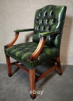 Green Leather Georgian Style Chesterfield Gainsborough Library / Office Chair