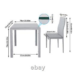 Grey Glass Dining Table and 2/4 Padded Chairs Sets Office Home Kitchen Furniture