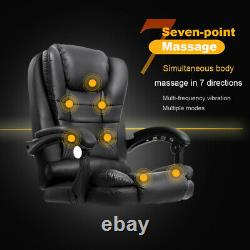 Grey Recliner Massage Home Office Gaming Chair Swivel Tilt Seater in PU Leather