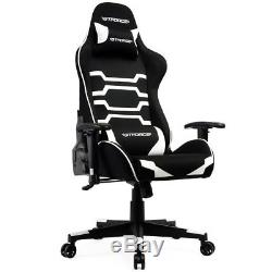 Gtforce Evo Ct White Reclining Sports Racing Gaming Office Desk Pc Fabric Chair
