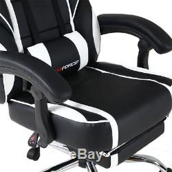 Gtforce Pace White Reclining Leather Sports Racing Office Desk Chair Gaming