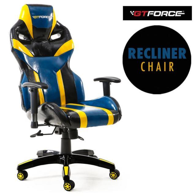 Gtforce Tronic X Blue Reclining Sports Racing Gaming Office Desk Leather Chair