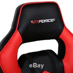 Gtforce Turbo Red Reclining Leather Sports Racing Office Desk Chair Gaming