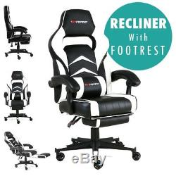Gtforce Turbo White Reclining Leather Sports Racing Office Desk Chair Gaming