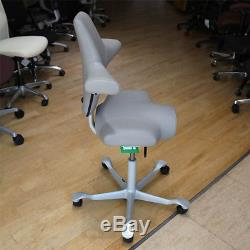 HAG Capisco 8106 Chair, Grey Leather and Silver Frame Special Price