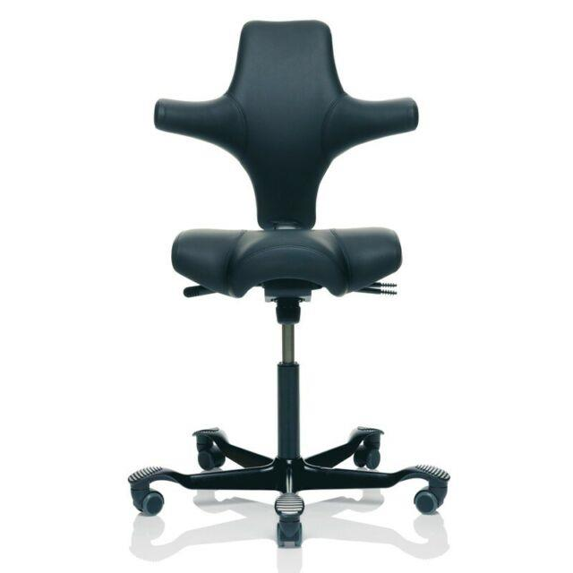Hag Capisco 8106 Ergonomic Sit / Stand Chair Saddle Seat Black Leather