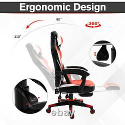 HOMCOM Ergonomic Gaming Office Chair with Padding Footrest Neck Back Pillow Red