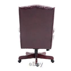 HOMCOM Executive Office Boss Chair PU Wood Padded High Back Computer