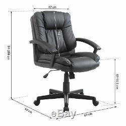 HOMCOM Office Chair Computer Racing Swivel Adjustable PU Leather Black