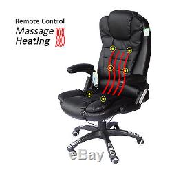 HOMCOM Office Computer Chair Heat Massage 6 Points Faux Leather Recline Swivel