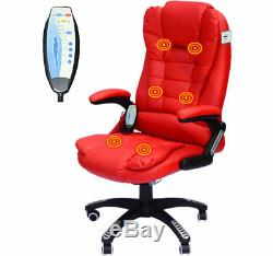 HOMCOM PU Office Computer Swivel Chair High Back Red Home Massage Seater