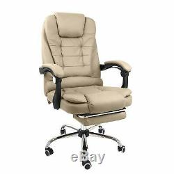 Halter Reclining Leather Office Chair Modern Executive Creamy White