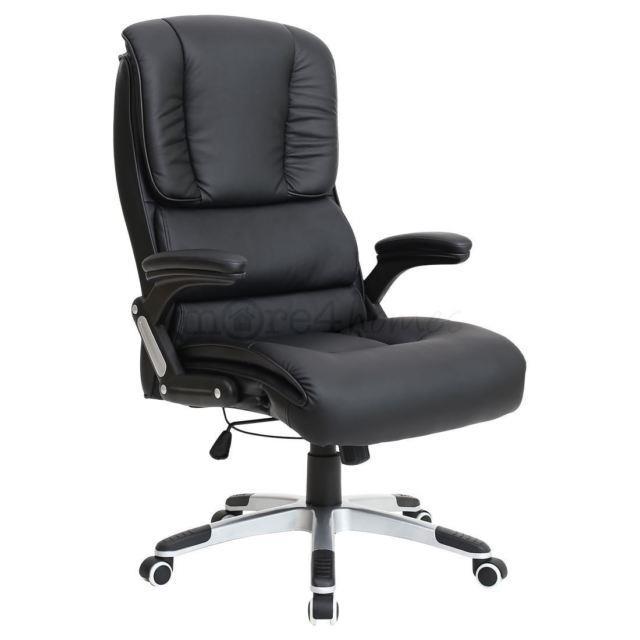 Havana Black Leather Office Desk Swivel Chair Ribbed Back