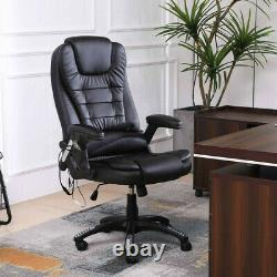 Heated Massage Computer Office Chair Leather Recline Swivel Remote Control Black