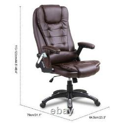 Heated Massage Computer Office Chair Leather Recline Swivel Remote Control Brown