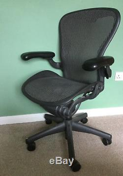 Herman Miller Aeron Chair With Leather Armrests Very Stylish