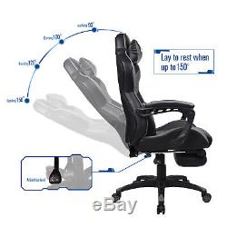 High Back Executive Office Gaming Chair Massage Adjustable PU Recliner Footrest