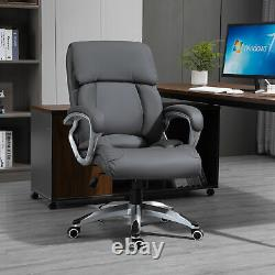 High Back Home Office Chair Swivel Executive PU Leather Chair, Deep Grey