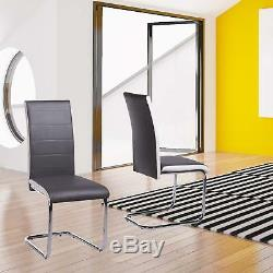 High Back Leather Dining Chairs 4pcs Set For Table Kitchen Room Office Furniture