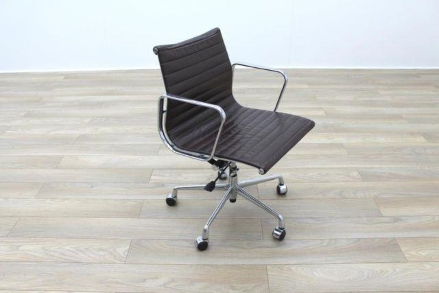 High Quality Charles Eames Ea117 Style Brown Leather Ribbed Office Chairs