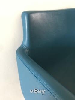 High quality Blue Leather dining room / office arm chair Vintage Retro