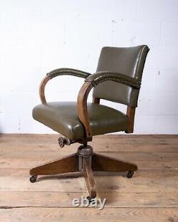 Hillcrest Tilt Swivel Leather Desk Office Vintage Banker's Captain's Chair