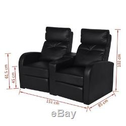 Home Cinema 2 Seater Armchair Chairs Faux Leather Recliner Office TV Couch Sofa