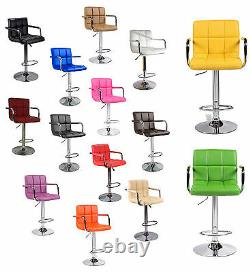 Home Office Faux PU Leather Bar Stool Dining Chair Swivel Barstools Handles UK