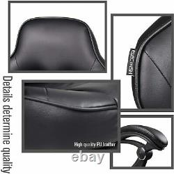 Home Office Gaming Computer Chair PU Leather Swivel Seat Recliner Footrest Black